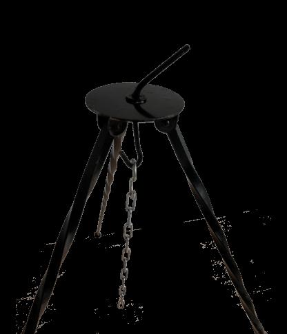 Detailfoto smeedijzeren driepoot Buitengewoon Koken