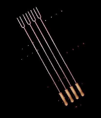Vier grillvorken van 75 cm lang! Buitengewoon Koken